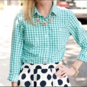 J. Crew Perfect Shirt in Turquoise Gingham